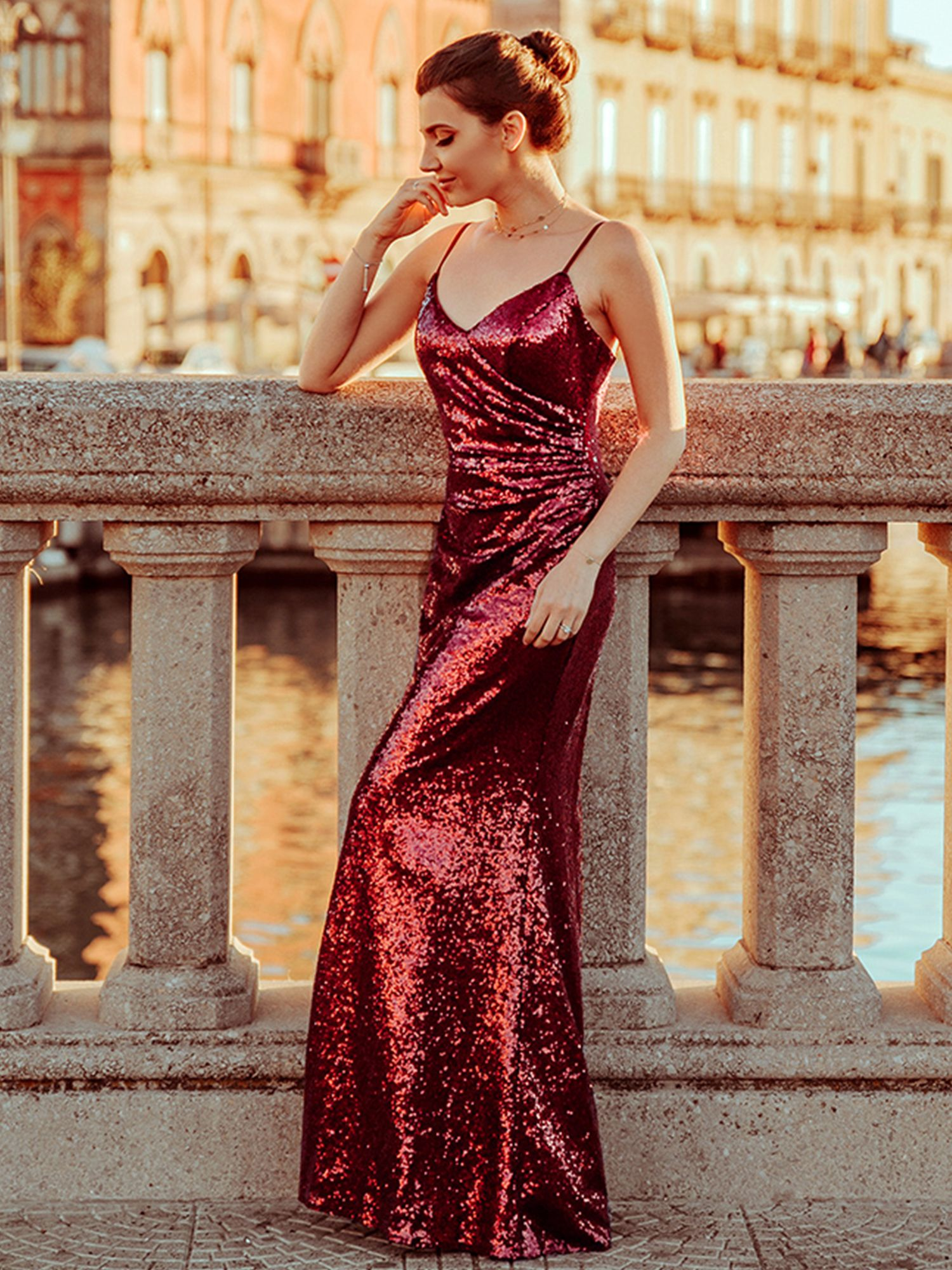 Ever Pretty Women S V Neck Sequins Long Burgundy Formal Evening Prom Cocktail Party Dresses For Wome Party Wear Dresses Cocktail Dress Party Sequin Party Dress [ 2000 x 1500 Pixel ]