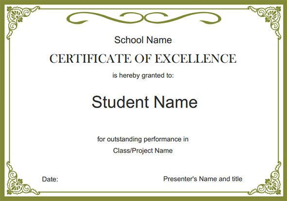 Certificate Template Student Certificates Awards Certificates