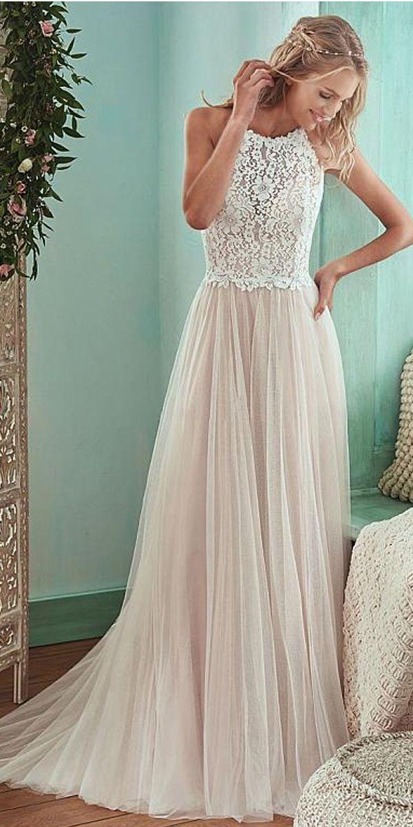 [160.50] Romantic Tulle & Lace Halter Neckline Natural