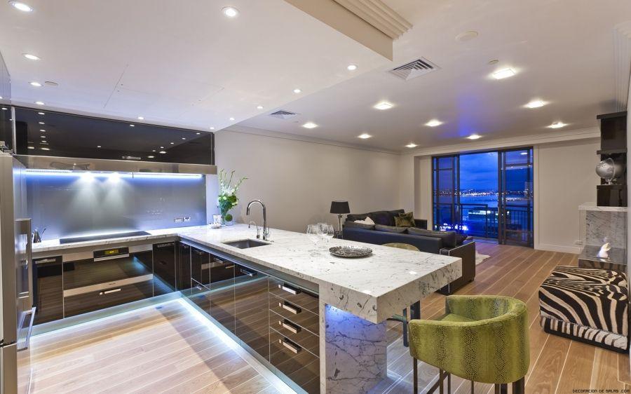 luces empotradas en una cocina grande salitre Pinterest Luces - Techos Interiores Con Luces