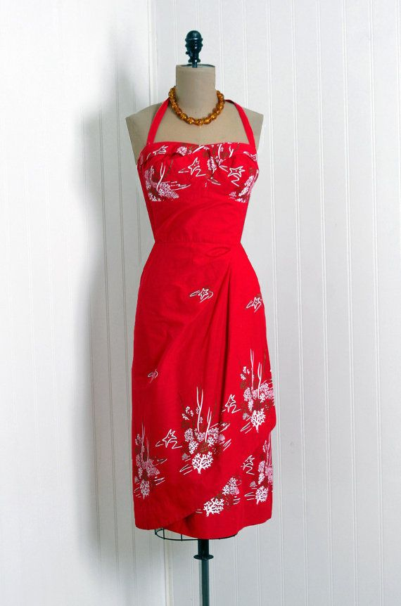 Red Tropical Vintage Dress...WOW