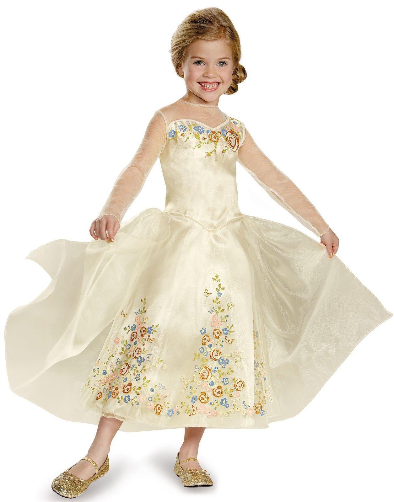 Disney Princess Cinderella Costume Dress Girls Size S 4-6X Dress Up NWT