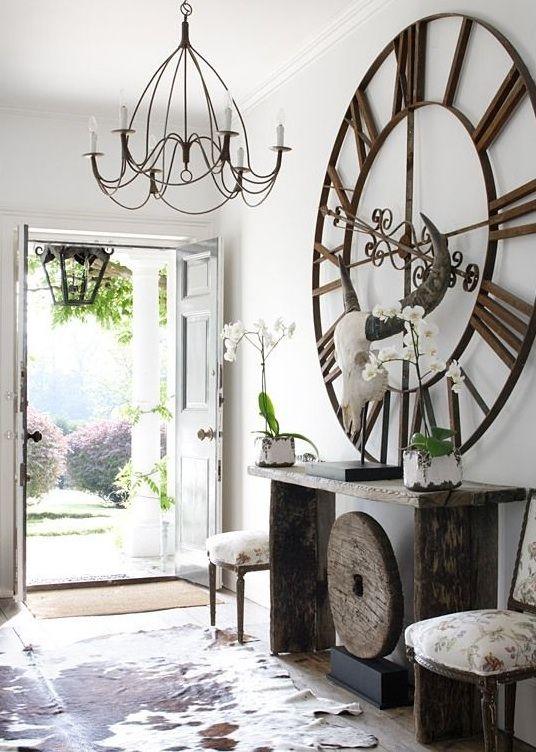 White Home Decor Modern Meets Rustic Zuhause, Einrichten und - wohnzimmer uhren modern