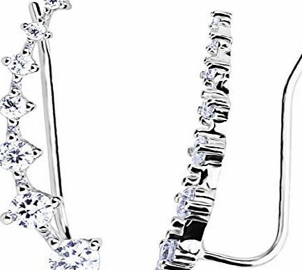 Elensan 7 Crystals Ear Cuffs Hoop Climber S925 Sterling Silver Earrings Hypoallergenic Earring 2iRzd