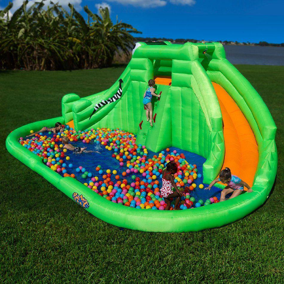 blast zone crocodile isle inflatable water slide summertime fun
