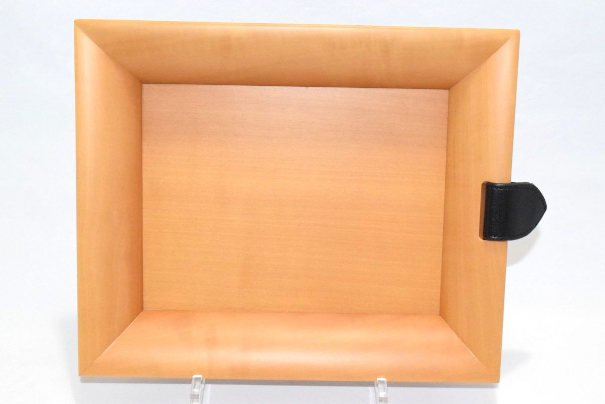 5970a995f65a Hermes Wooden Tray Brown Leather Wood Change Key tray Valet Authentic VIDE  POCHE