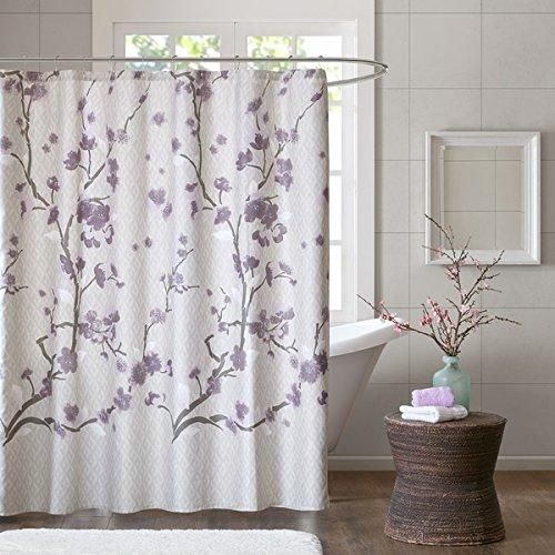 Purple Beige Brown Graphical Nature Themed Shower Curtain Cotton