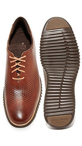 Cole Haan Men's 2.Zerogrand Laser Perforated Wingtip Oxfords, British  Tan/Java,