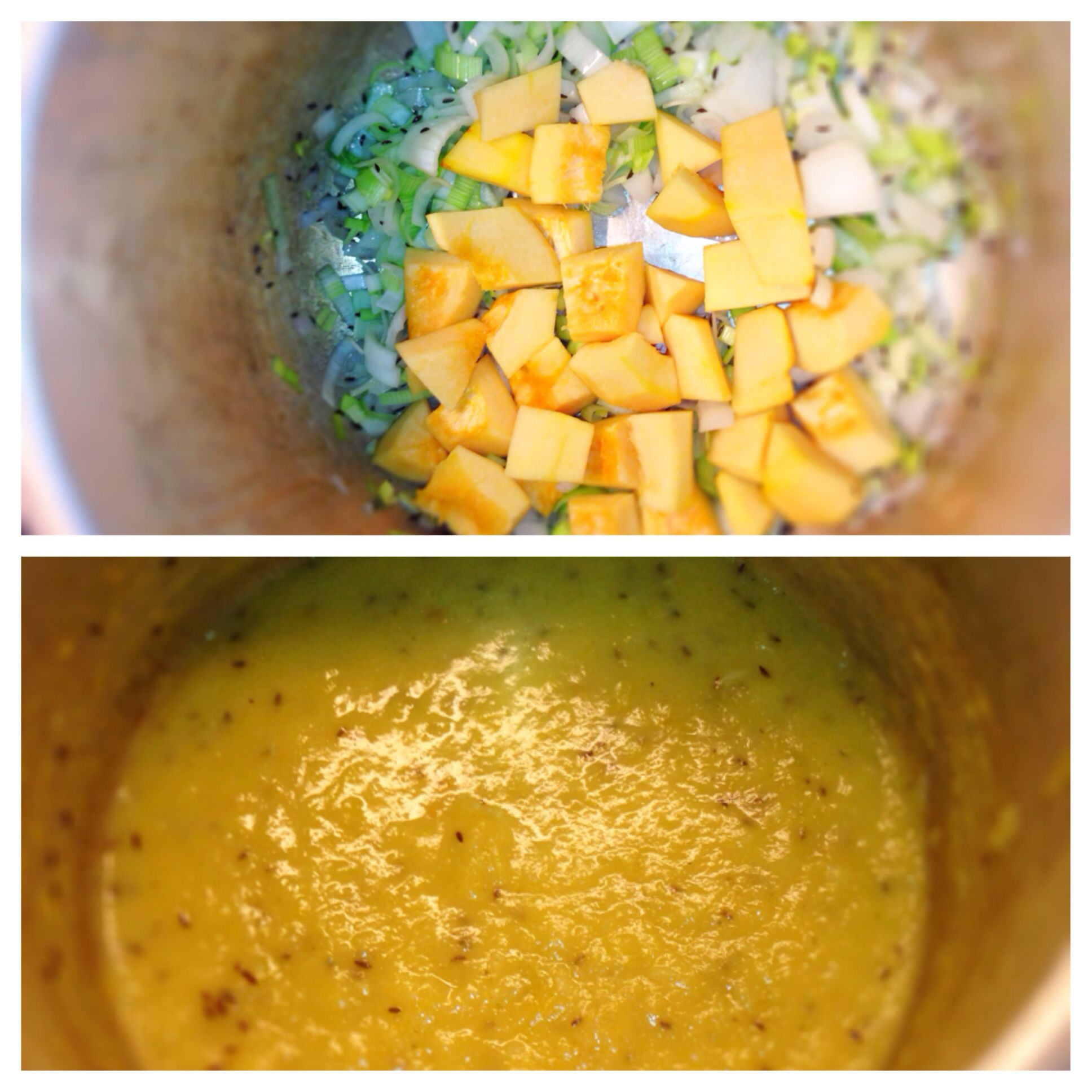 Acorn Squash Soup Using Pressure Cooker 1 Squash Can Also Use Pumpkin Or Butternut Squash 1 Leek 1 Small Yellow O With Images Acorn Squash Soup Onion Leeks Acorn Squash