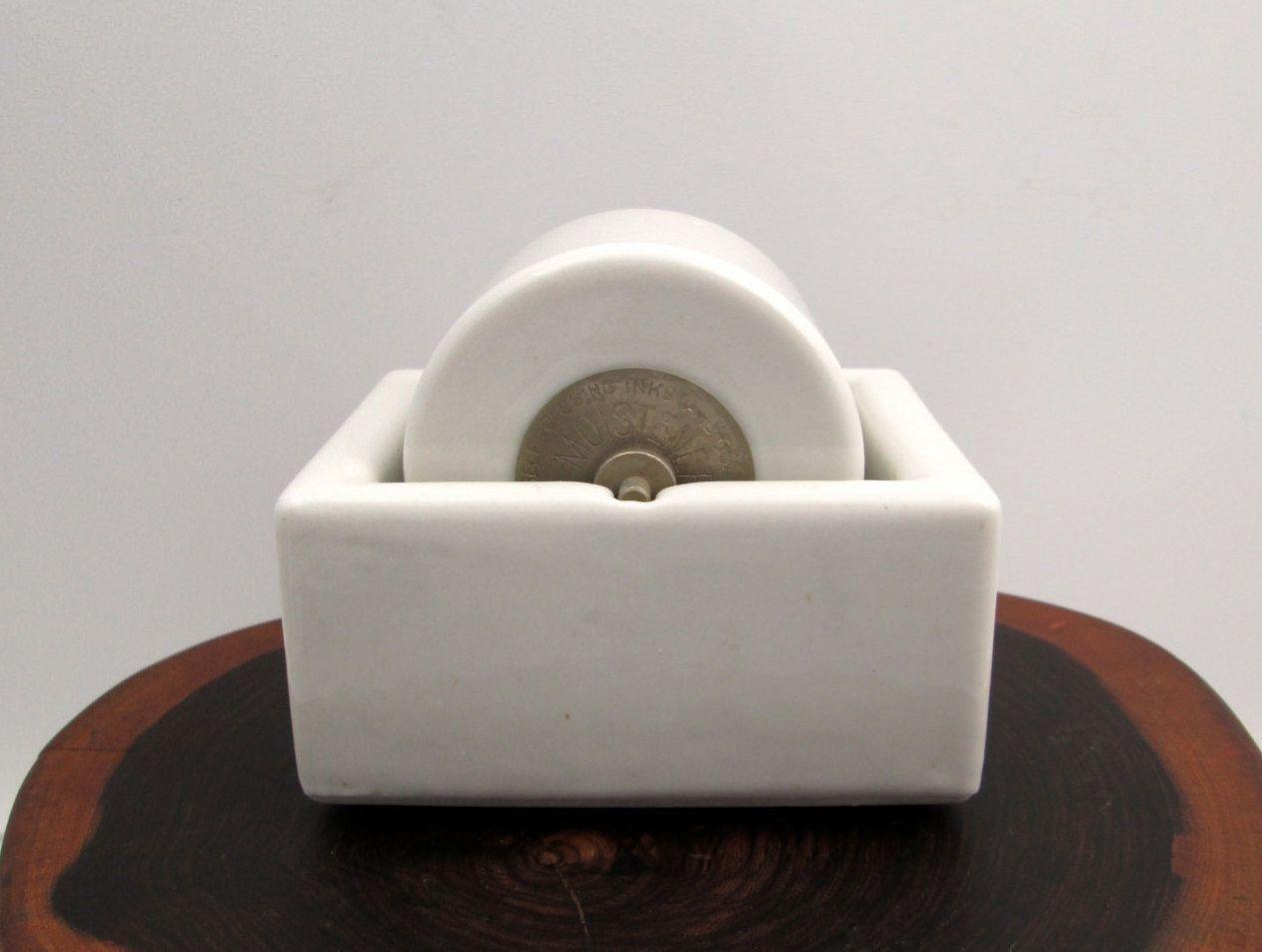 Vintage Sengbusch Ideal Moistener Heavy White Porcelain