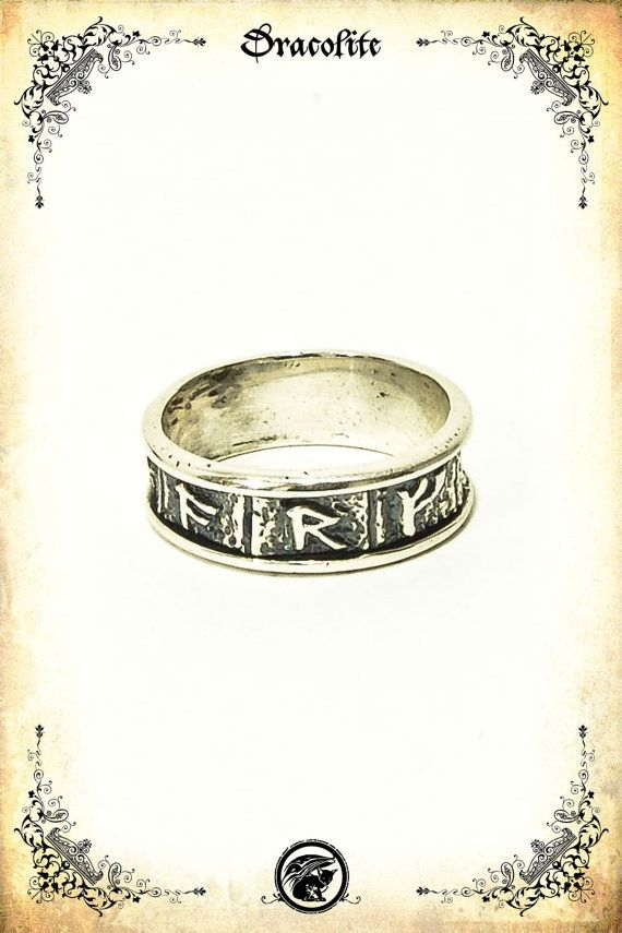 Small Viking runes medieval ring - Sterling silver 925