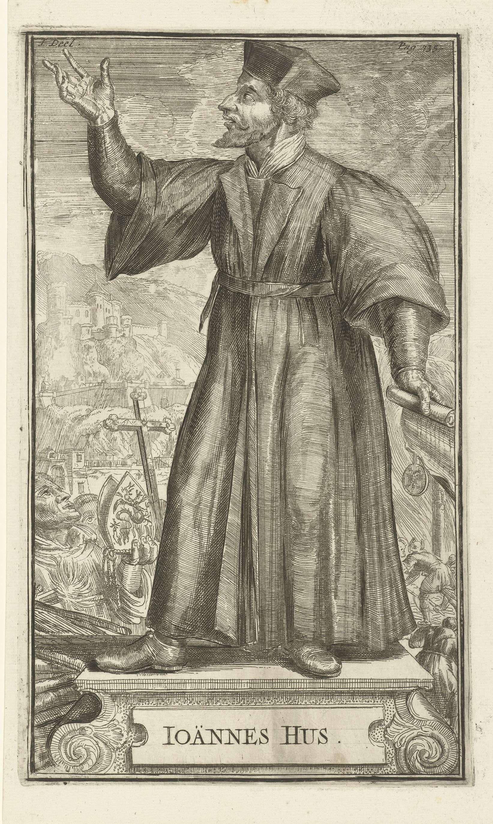 Romeyn de Hooghe | Portret van Johannes Hus, Romeyn de Hooghe, 1701 | Portret van Johannes Hus uit een serie portretten in Historie der Kerken en ketteren van den beginne des Nieuwen Testaments tot aan het jaar onses Heeren 1688 van Godfried Arnold (1701).