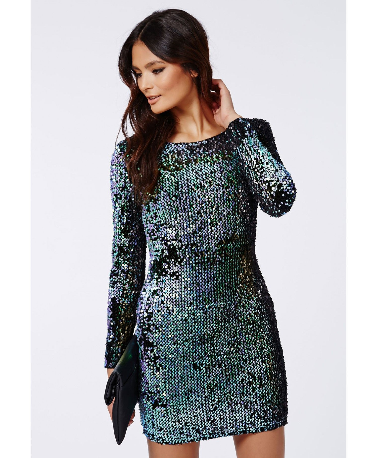 54a7b93a08b Ivy Mermaid Sequin Long Sleeve Mini Dress Green | Short Dresses ...