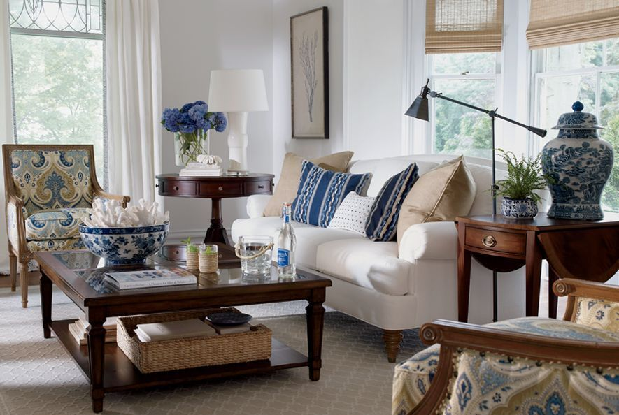 living room in blue%0A ethan allen living room love the white coral in the blue  u     white bowl on  coffee table