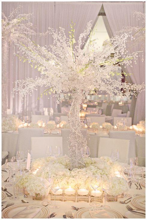 white, crystals, wedding reception, tree center pieces, roses @Kristin Vining Photography Charlotte, NC Wedding Photographer