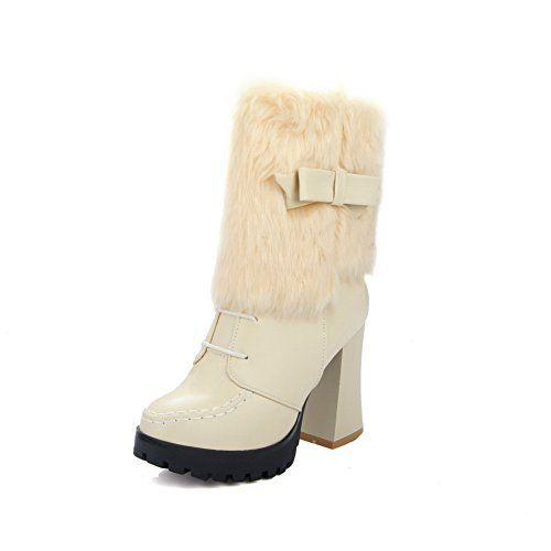 Girls Platform Fur Ornament Spun Gold Bowknot Imitated Leather Boots