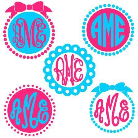circle monogram frames instant download cut file for silhouette machine cutting monogram fonts sold separately - Monogram Frames