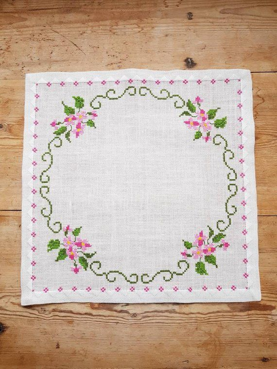 Lovely floral cross stitch embroidered tablecloth in linen from Sweden