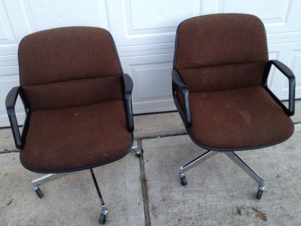 Vintage Retro All Steel Inc Pair Of Rolling Office Chairs