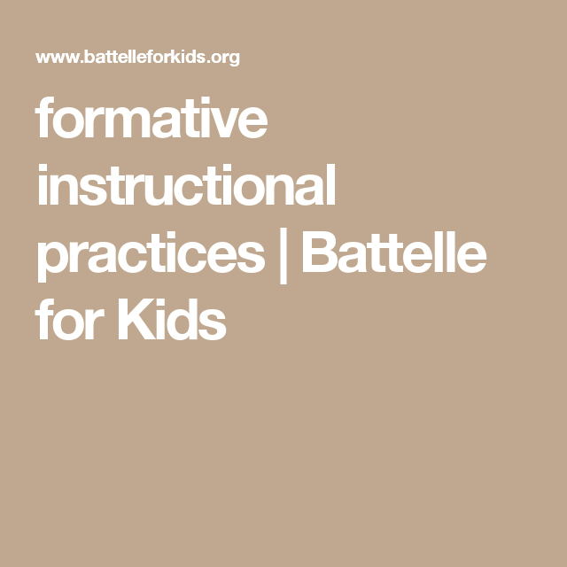 Formative Instructional Practices Battelle For Kids Classroom