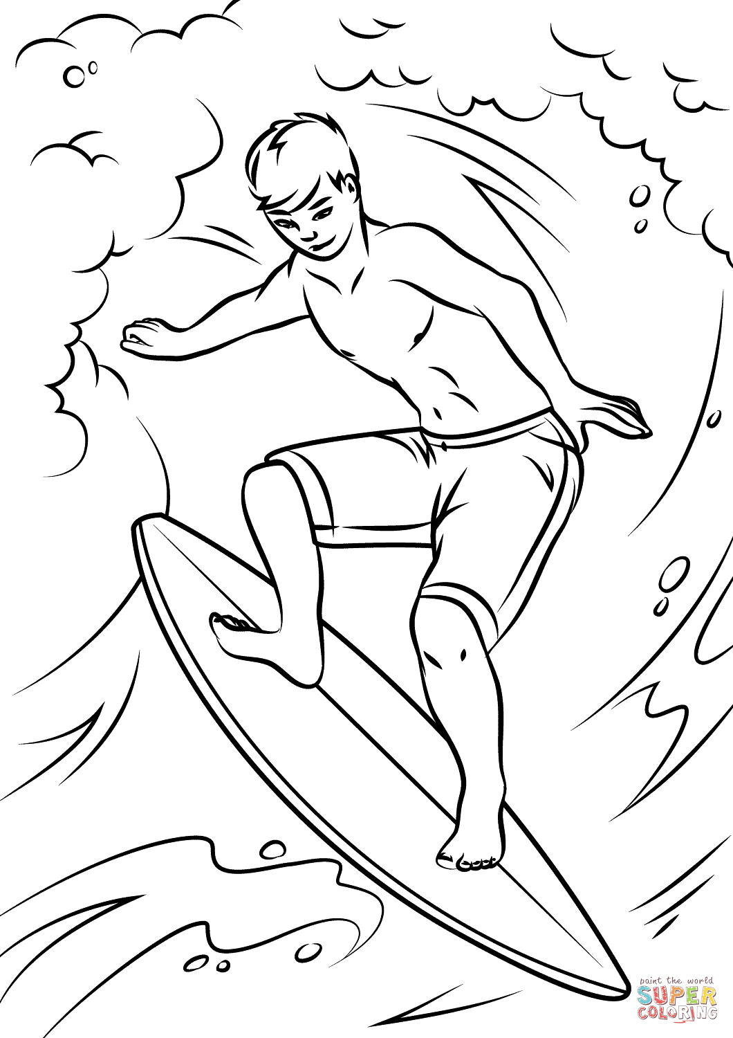 Cool Surfer Coloring Page Free Printable Coloring Pages Coloring Pages Free Printable Coloring Pages Beach Coloring Pages