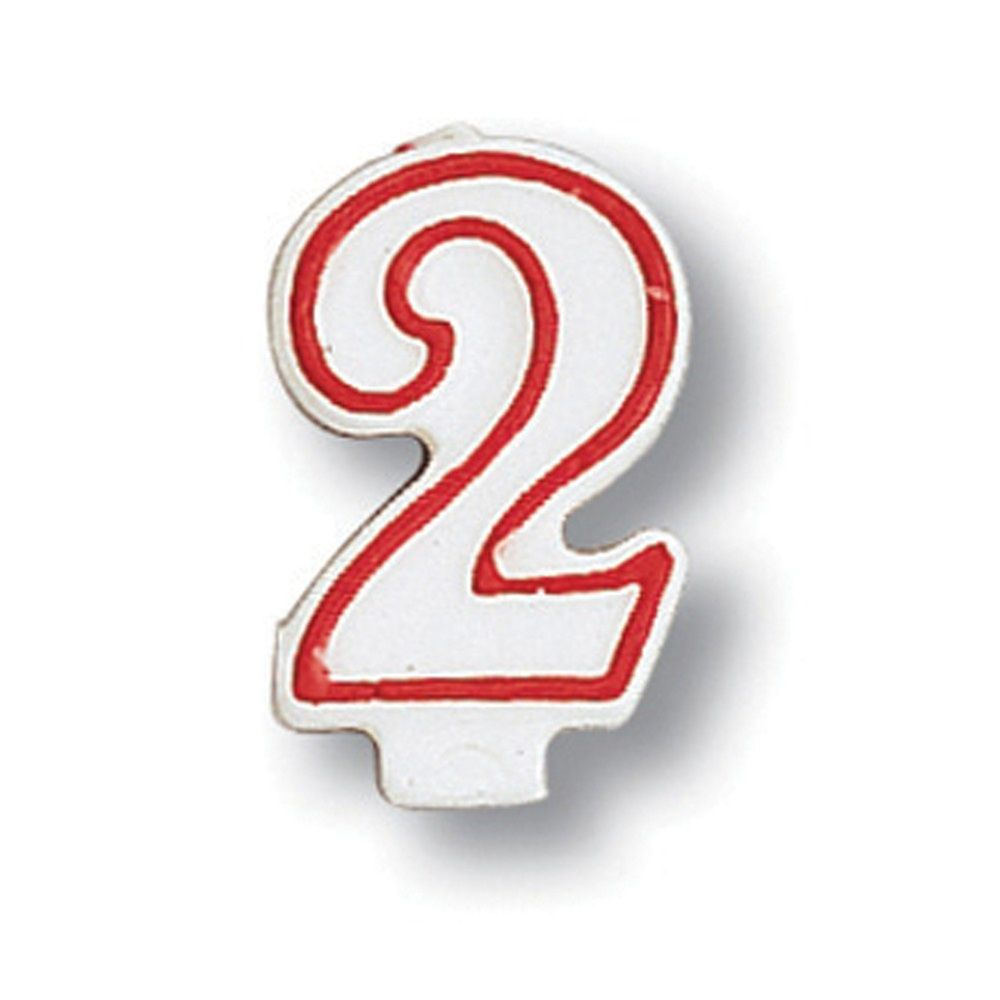 Red Outline Numeral Candle Number 2 Case Of 6 Tags Party Decorations