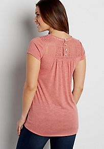 tee with lace yoke and crocheted overlay - alternate image