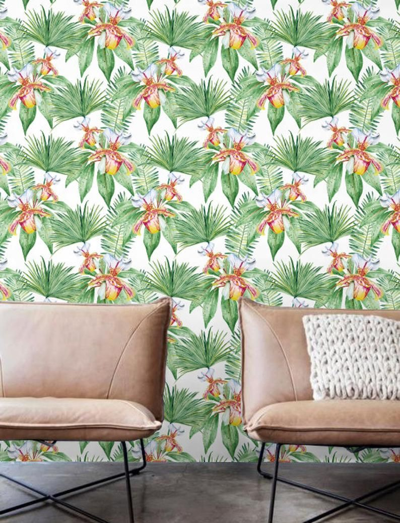 Watercolor Palm leaves Wallpaper, Removable Wallpaper