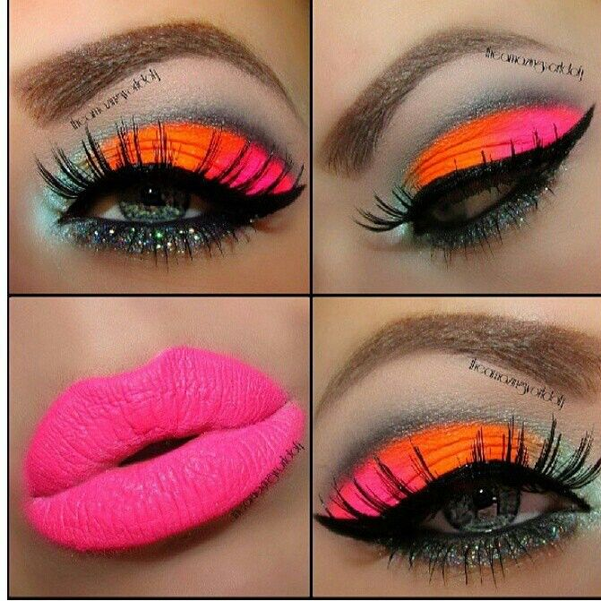 why go natural when you can go neon Make up! Pinterest