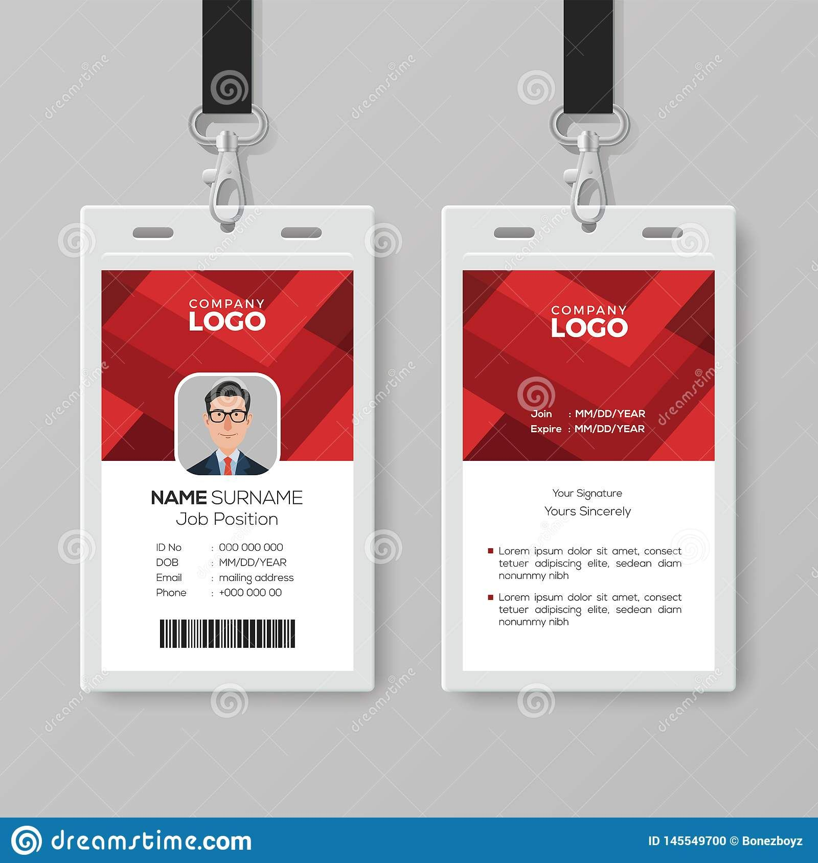 Creative Id Card Template With Abstract Red Background Stock Pertaining To Conference Id Card Template Id Card Template Card Template Visiting Card Templates