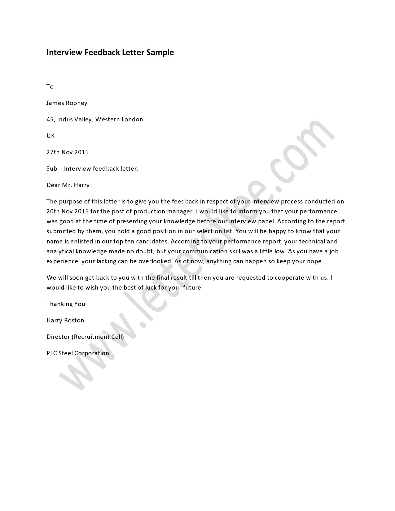 Sample Interview Feedback Letter How To Write A Interview