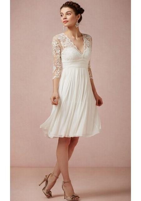 kort brudekjole Kort hvid broderet brudekjole  | Brudekjoler/Weddingdresses