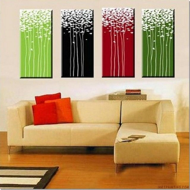 Acrylic Canvas Painting Ideas | Acrylic Abstract Painting 4 Pieces ...