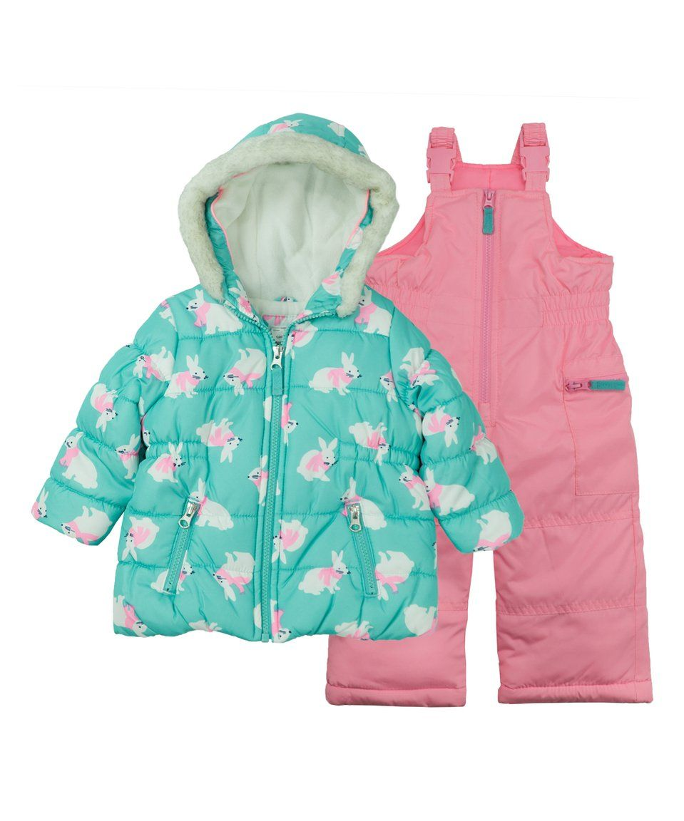 5c21cc275188 Take a look at this Turquoise Bunny Puffer Coat   Pink Snow Bib ...