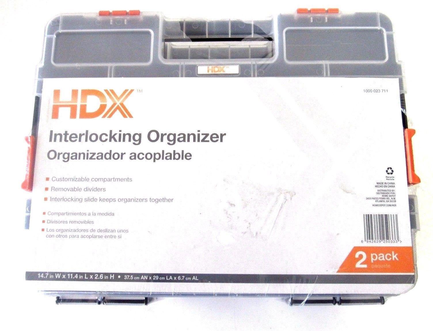 6-Pack HDX 15-Compartment Interlocking Small Parts Organizer in Black
