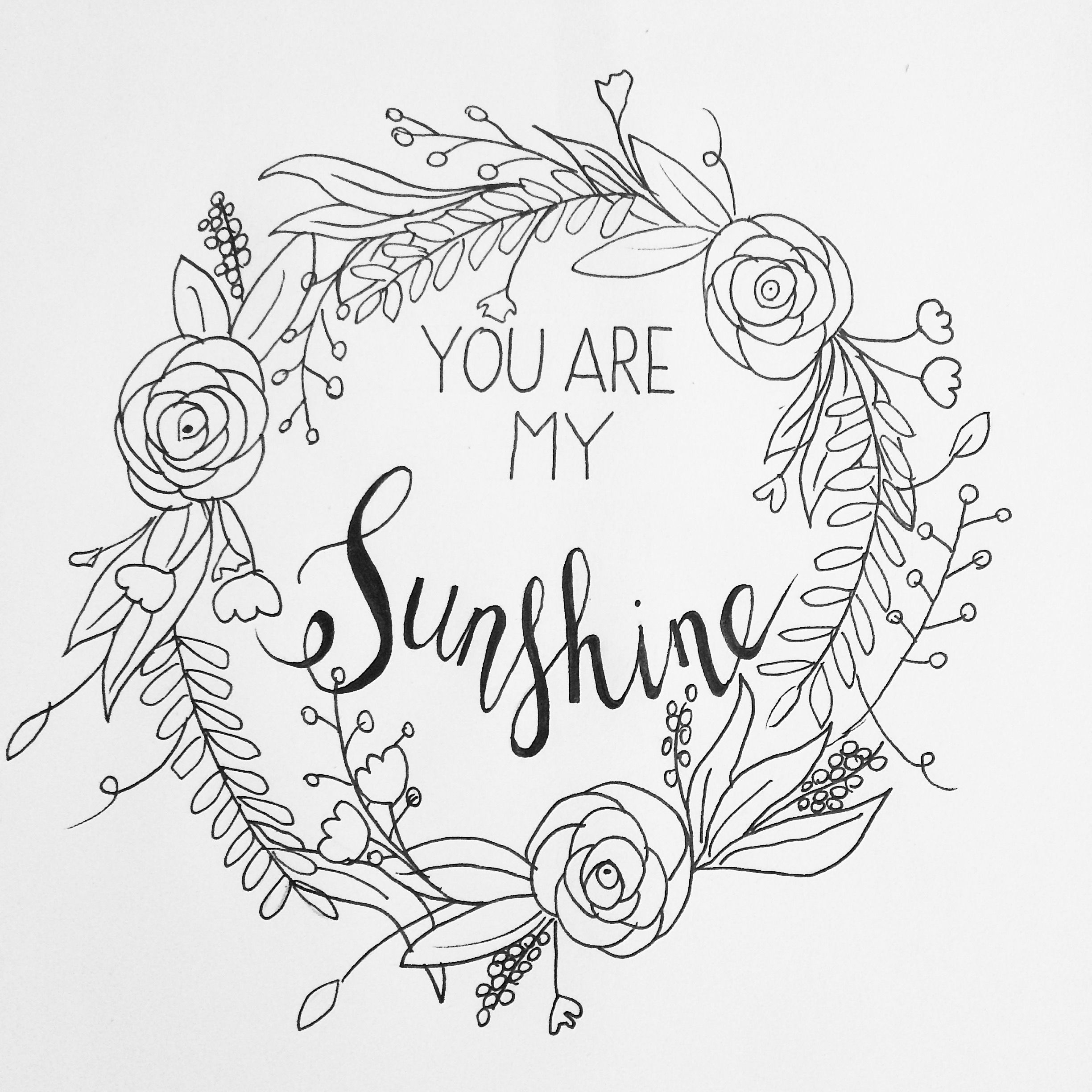 Handlettering doe je zo! You are my sunshine!  Christmas button
