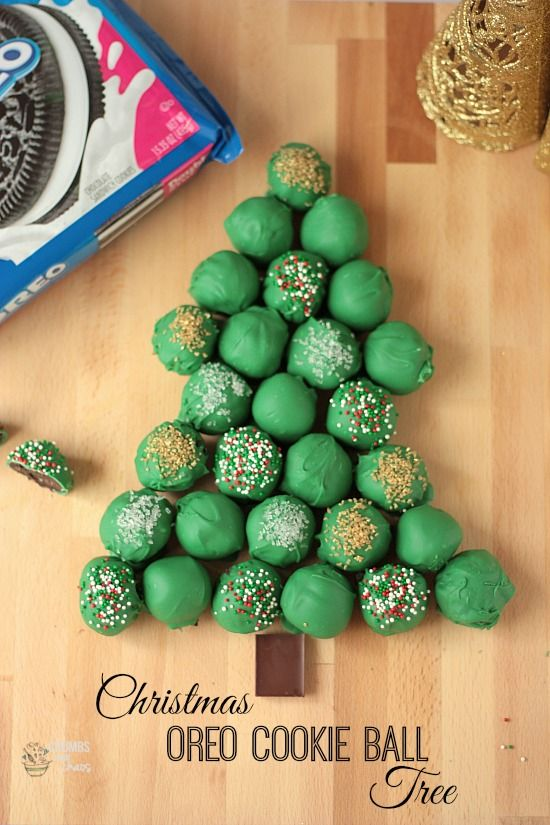 How To Decorate A Christmas Tree With Balls Christmas Oreo Cookie Ball Tree  Recipe  Oreo Tree Cakes And