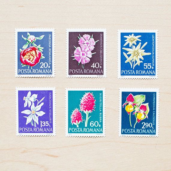 6 romania botanical vintage postage stamps 1972 unused wedding 6 romania botanical vintage postage stamps 1972 unused australia wedding letters mailing invitations calligraphy envelopes romanian flowers stopboris Image collections