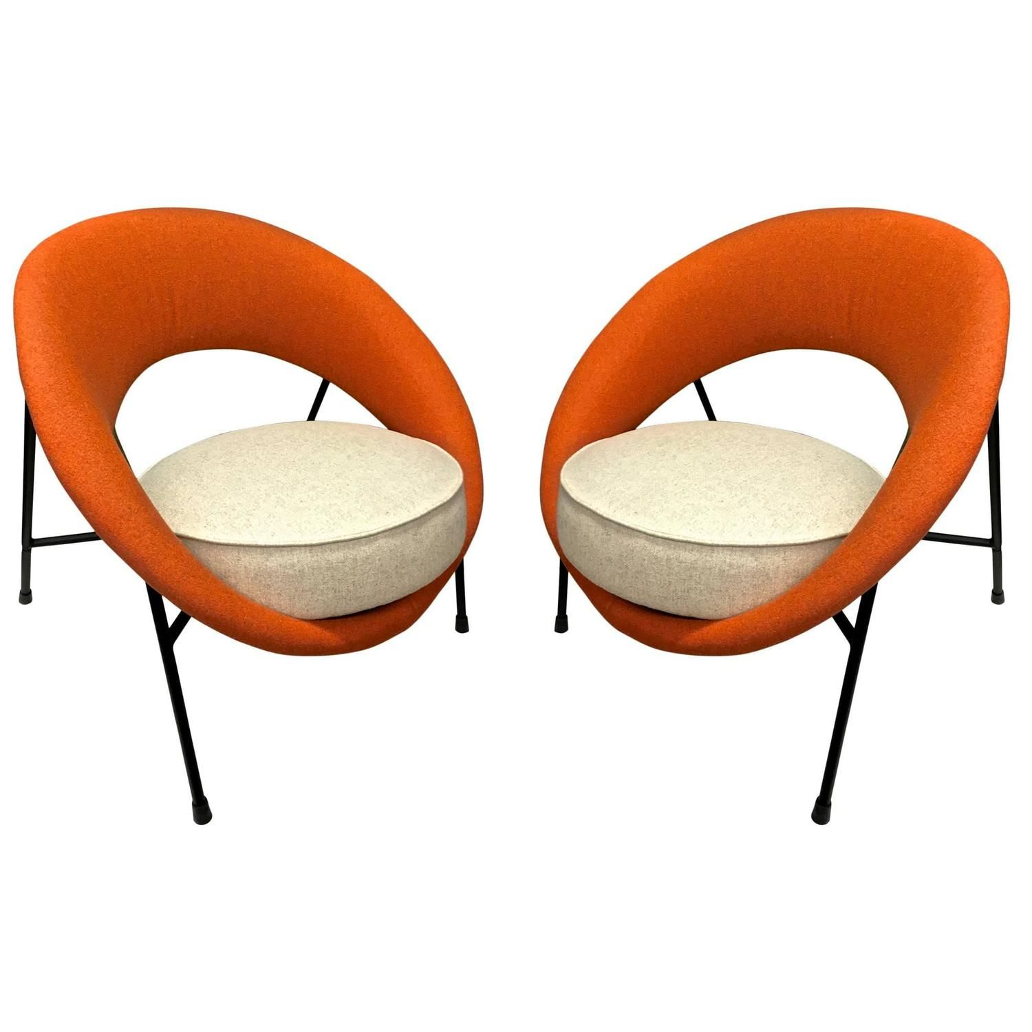 Model Saturne Rare Pair Of Chairs By Genevieve Dangles And Christian Defrance 1stdi Vintage Lounge Chair Mid Century Modern Seating Furniture Design Modern