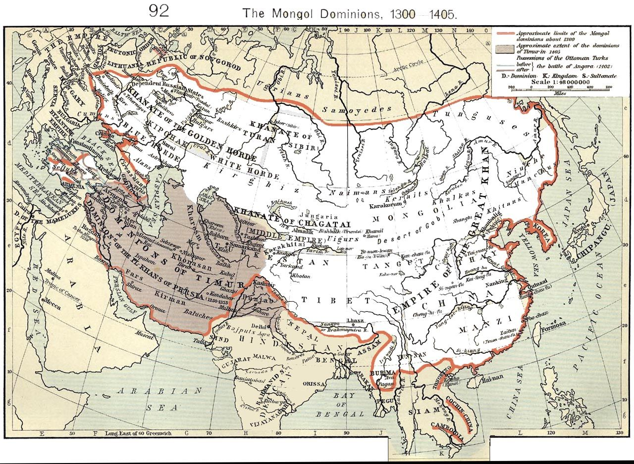 Mongol Empires Largest Extent Outlined In Red Shepherd William - China historical map 1890 1907