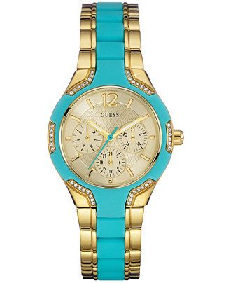 dfae234d4aafd GUESS Women s Turquoise Silicone and Gold-Tone Steel Bracelet Watch 36mm  U0556L6 - Watches - Jewelry   Watches - Macy s