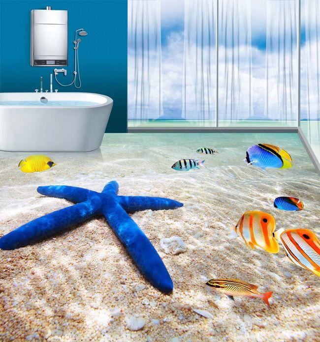 Freies Verschiffen Nach 3d Bodenfliesen Wandfliesen Tapete Badezimmer  Strand 3d Bodenbelag Tapete Mural(China