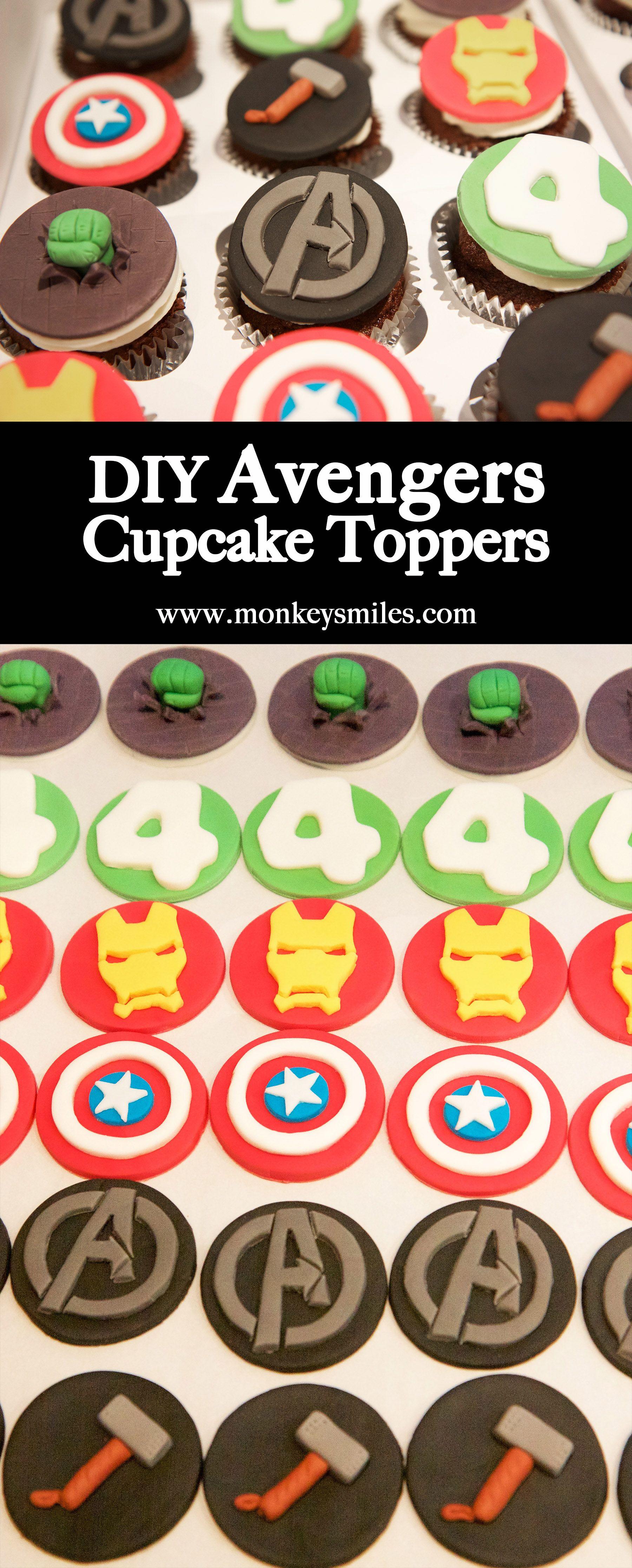 Awe Inspiring Diy Avengers Birthday Cupcake Toppers Avengers Birthday Cakes Funny Birthday Cards Online Elaedamsfinfo