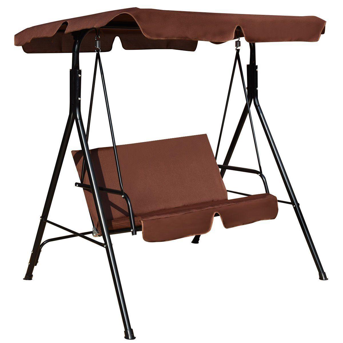 Shop patio canopy swing glider hammock loveseat cushioned steel