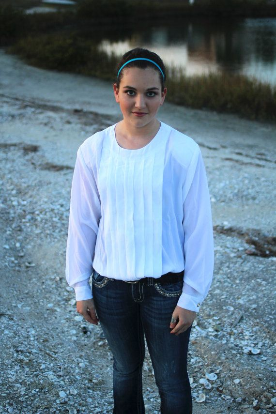 White Blouse M Women's LongSleeve Shirt with by FoxandFawnDesign, $24.95