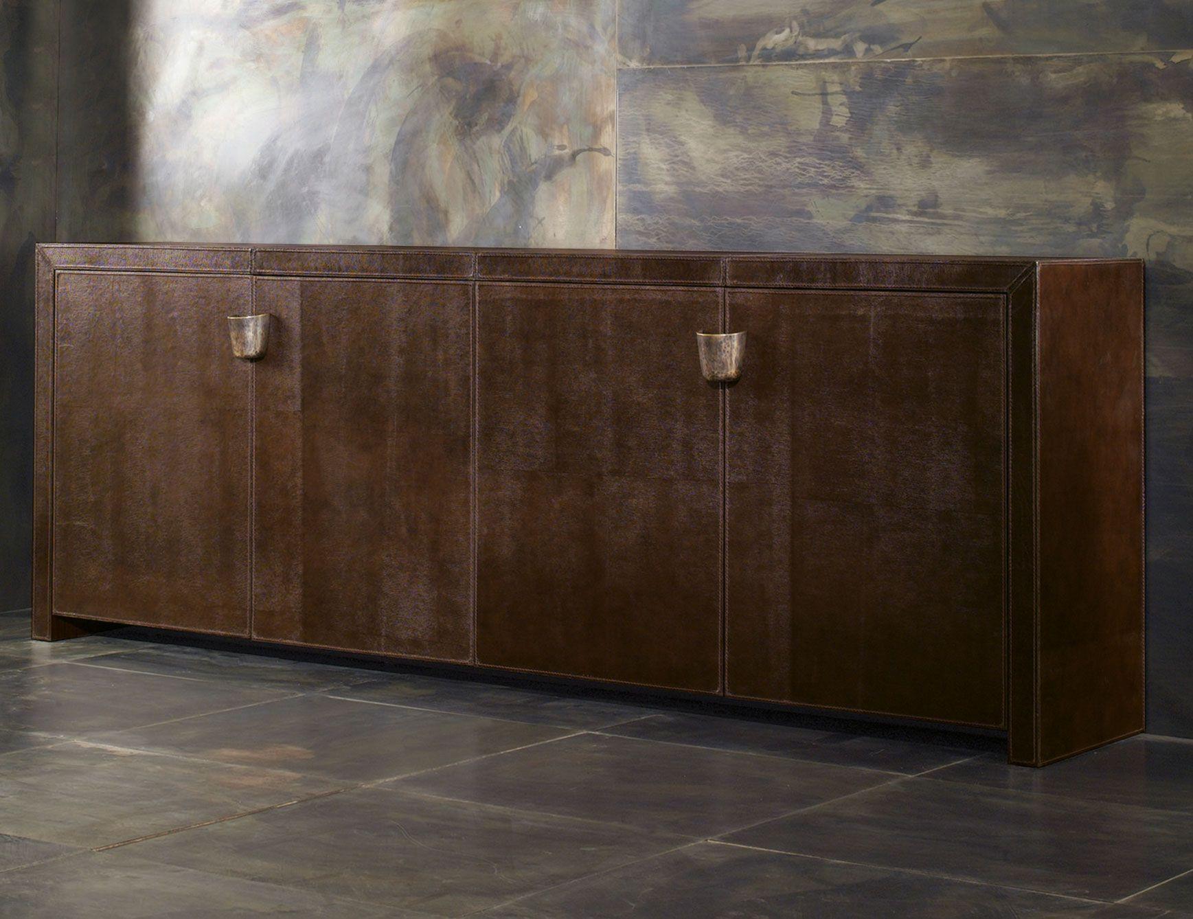 Shiroma 6007 Big Luxury Italian Sideboard Upholstered In Brown