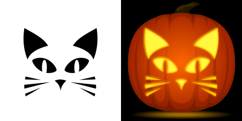 Easy cat pumpkin carving stencil free pdf pattern to for Simple pumpkin stencils