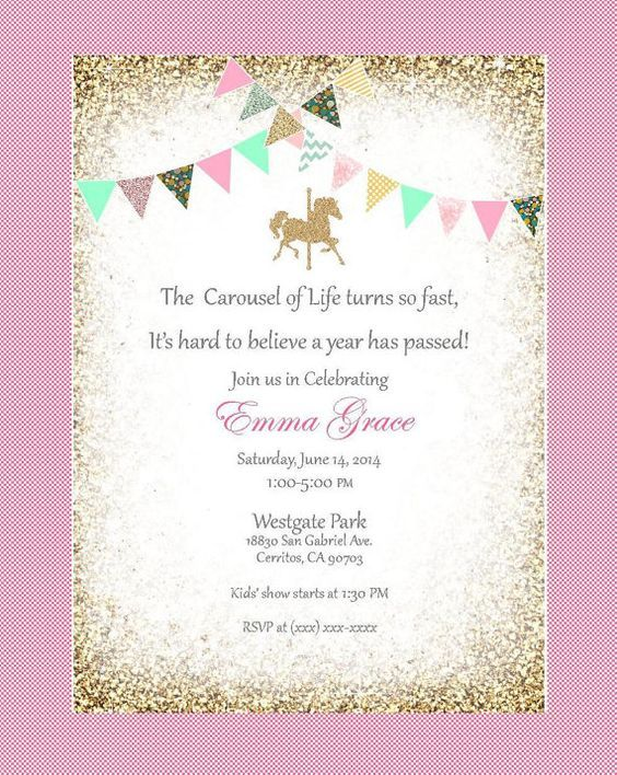 Printable Pink and Gold Carousel Birthday Invitation Merry Go - birthday invitation card empty