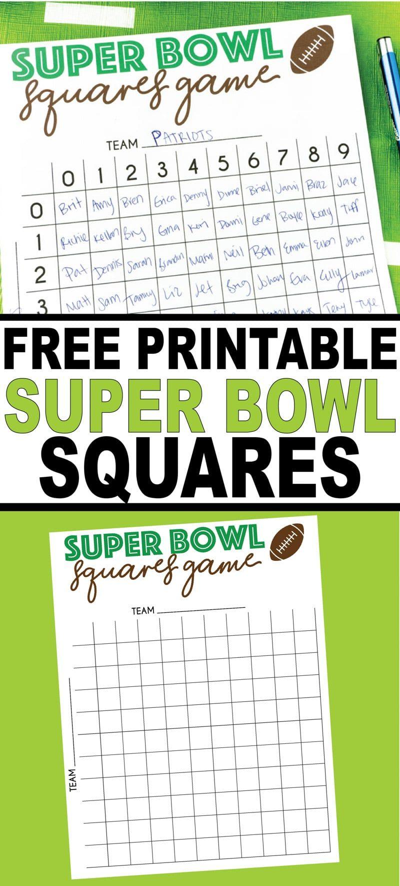 Free Printable Super Bowl Squares Template Superbowl Squares Super Bowl Football Squares