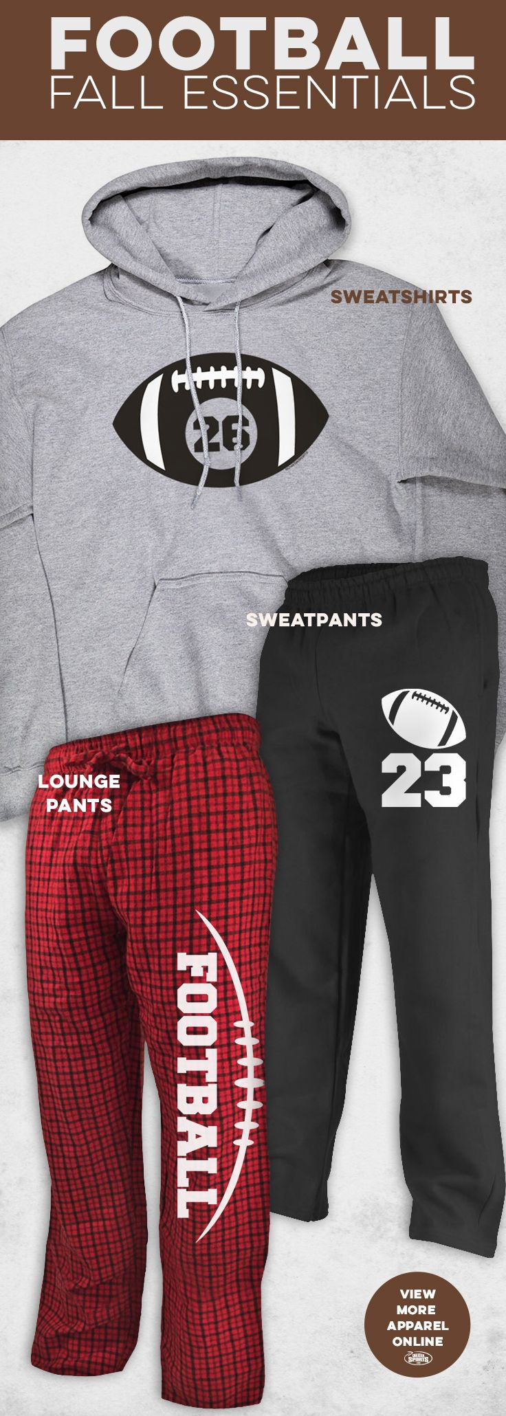 Football season is here. Those weeknight/ Saturday morning games can get a little chilly. Stay warm with these fall essentials - like sweatshirts, sweatpants, lounge pants and more.